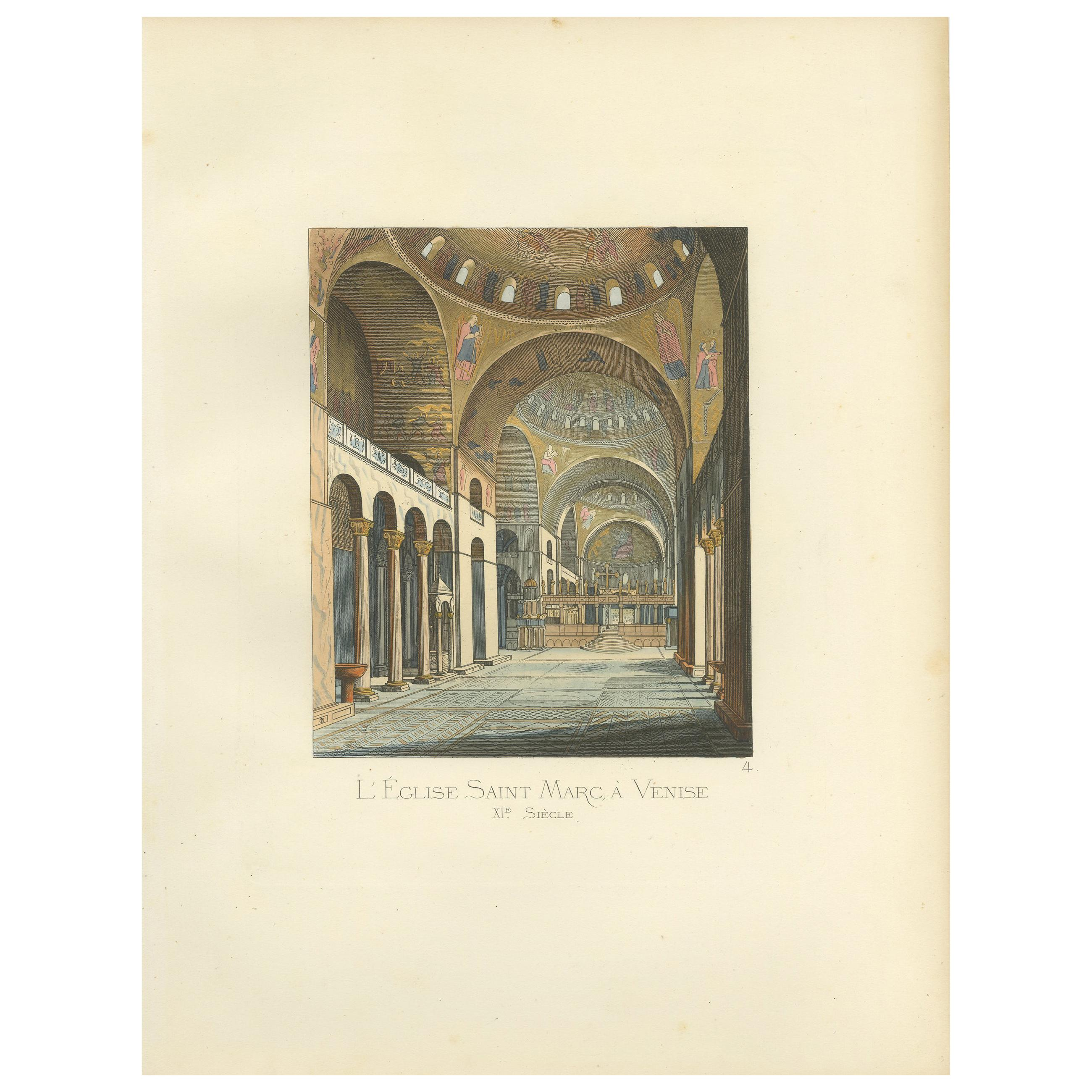Antique Print of St. Mark's Basilica in Venice by Bonnard '1860'