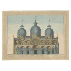 Antique Print of St Mark's Basilica in Venice 'c.1800'