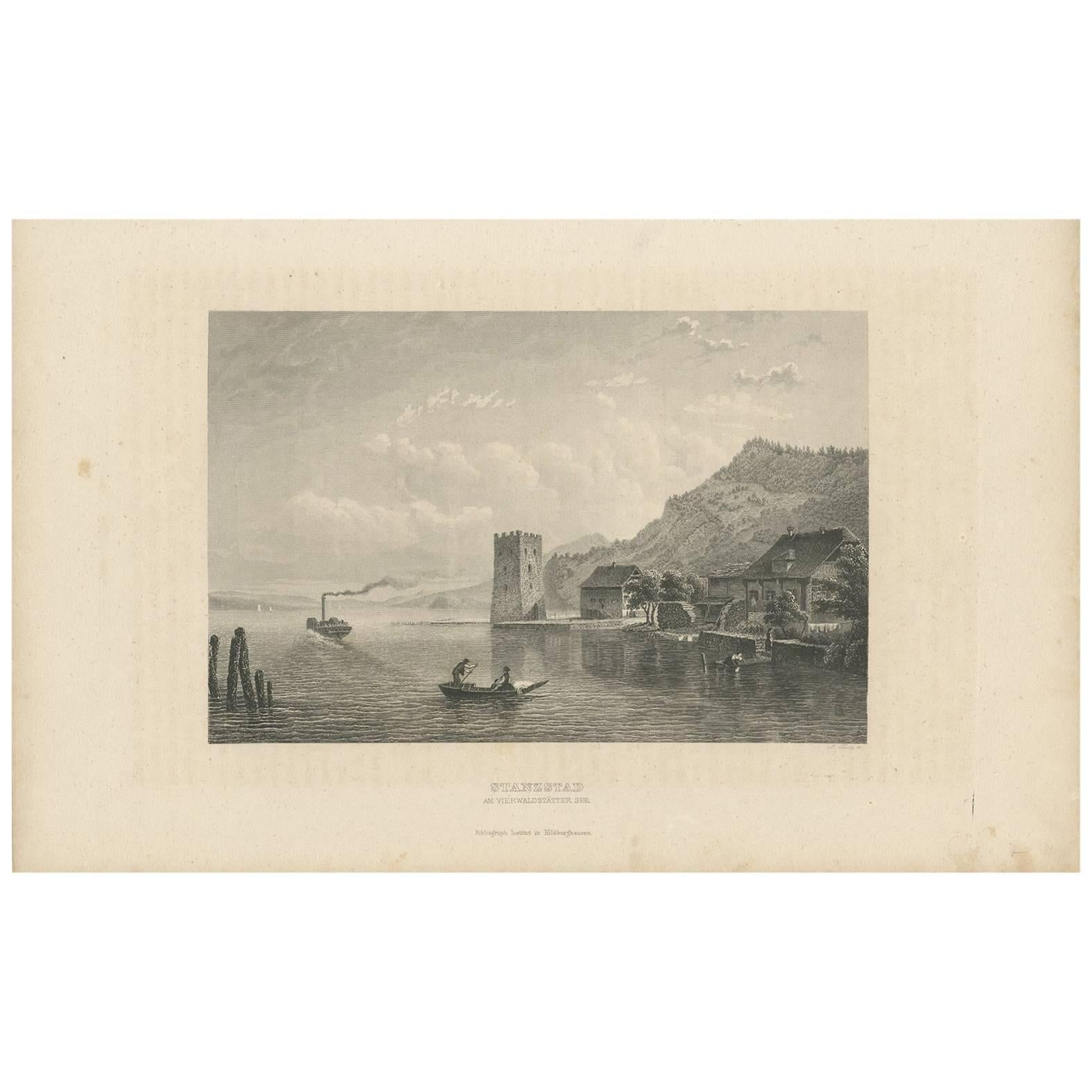 Antique Print of Stansstad 'Switzerland' by A. Fesca, circa 1860