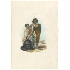 Antique Print of Te Mutu with His Sons by Angas, 1847