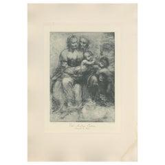 Antique Print of 'The Academy Cartoon' Made after Leonardo da Vinci 'c.1890'