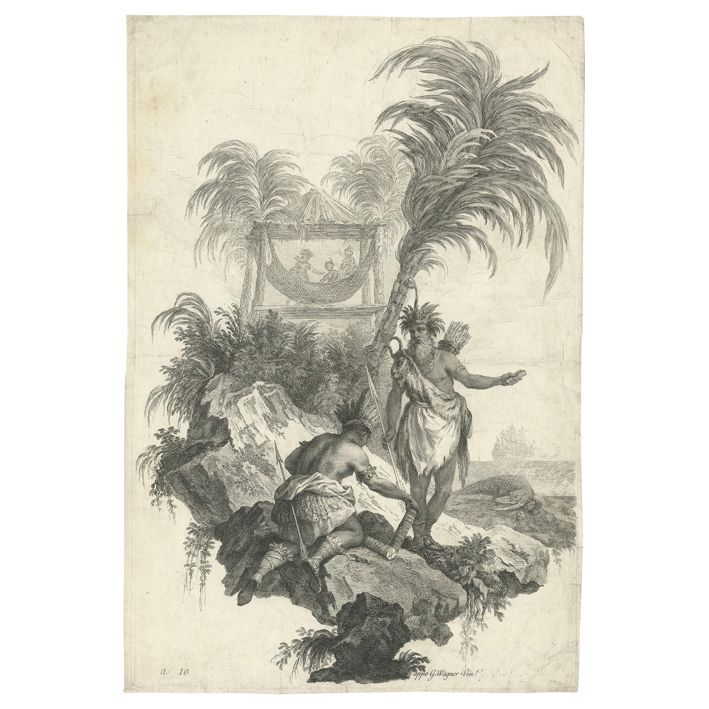 Antique Print of the 'African Continent' by Wagner, circa 1745