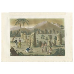 Antique Print of the Ancient Pillars on Rota Island by Ferrario '1831'