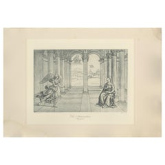 Antique Print of 'The Annunciation' Made After Raphael 'C.1890'