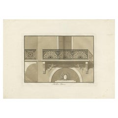 Antique Print of the Architecture of a Balcony by Spiegl, circa 1730