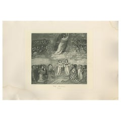 Antique Print of 'The Ascension' Made After Giotto 'C.1890'