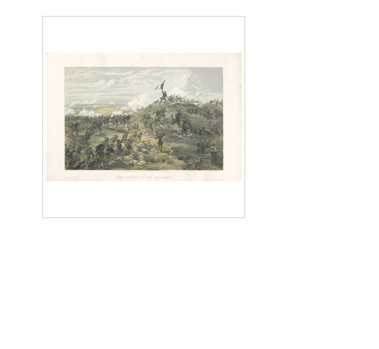 19th Century Antique Print of the attack on Malakoff 'Crimean War' by W. Simpson, 1855 For Sale
