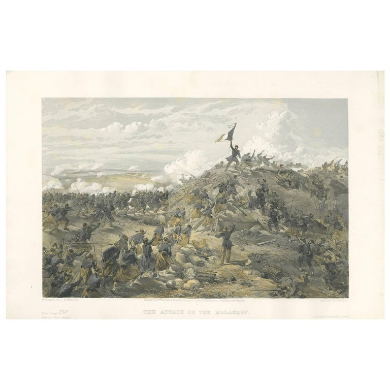 Antique Print of the attack on Malakoff 'Crimean War' by W. Simpson, 1855 For Sale