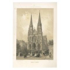 Antique Print of the Basilica of Saint Clotilde by Benoist, 1861
