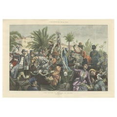 Antique Print of 'The Battle of Flowers' at Cannes by Hopkins, '1889'