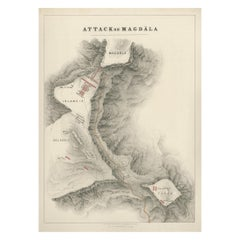 Antique Print of the Battle of Magdala by Ferguson '1870'