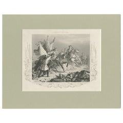 Antique Print of the Battle of Villaviciosa by Payne, circa 1850
