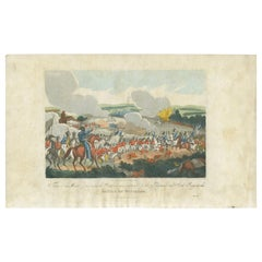 Antique Print of the Battle of Waterloo by Evans '1816'