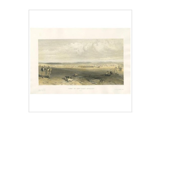 19th Century Antique Print of the Camp of Light Division 'Crimean War' by W. Simpson, 1855 For Sale