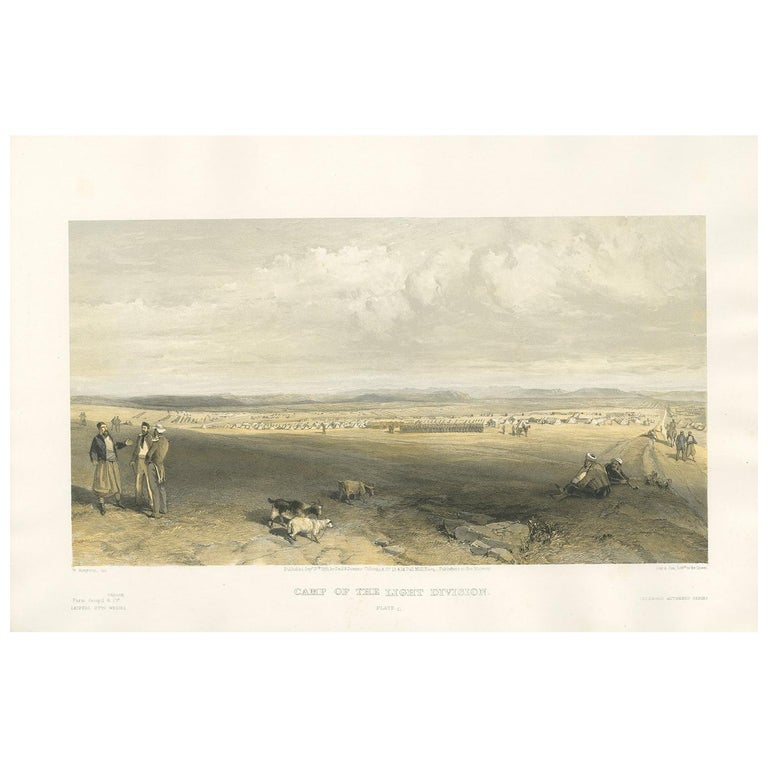 Antique Print of the Camp of Light Division 'Crimean War' by W. Simpson, 1855 For Sale