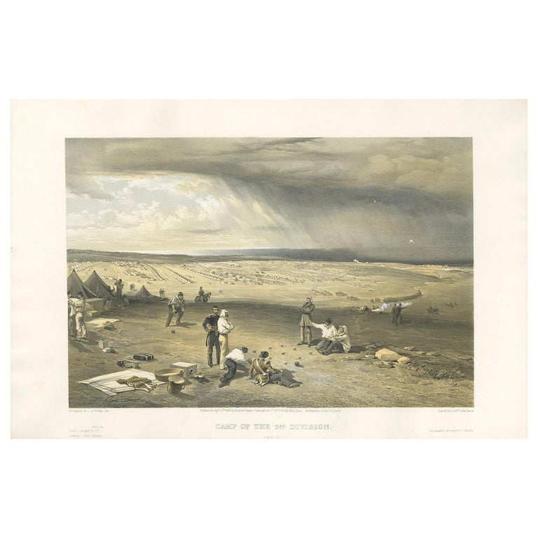 Antique Print of the Camp of the 3rd Division 'Crimean War' by W. Simpson, 1855 For Sale