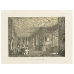 Antique Print of the Cartoon Gallery of Knole by Nash 'circa 1870'