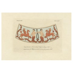 Antique Print of the Ceiling Decoration of a Roman Bath by Cameron '1772'