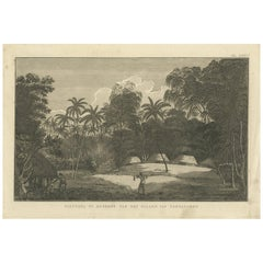 Antique Print of the Cemetery on the Island Tongatapu by Cook, circa 1801