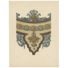 Antique Print of the Center of a Necklace by Hefner-Alteneck, 1890