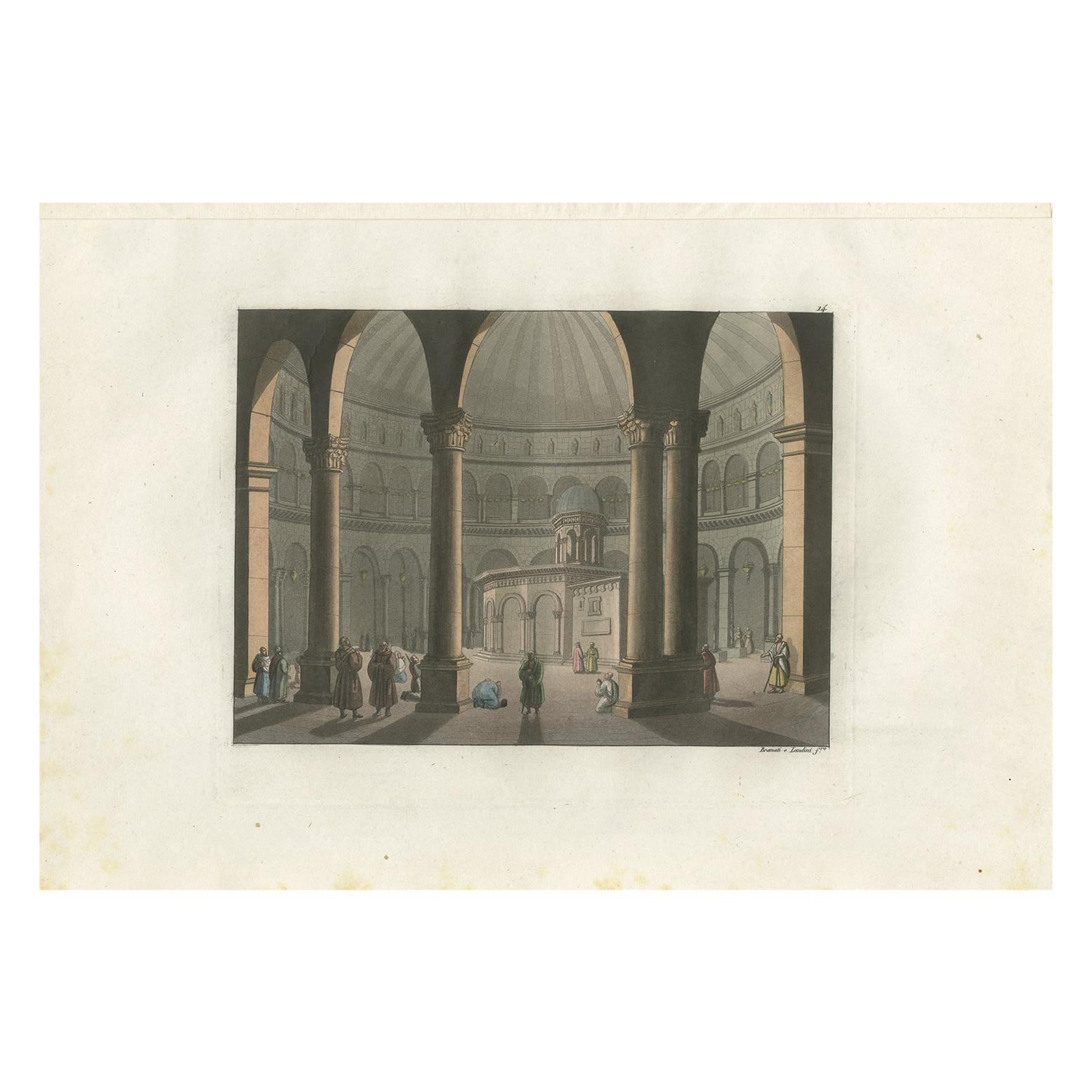Antique Print of the Church of the Holy Sepulchre by Ferrario '1831'