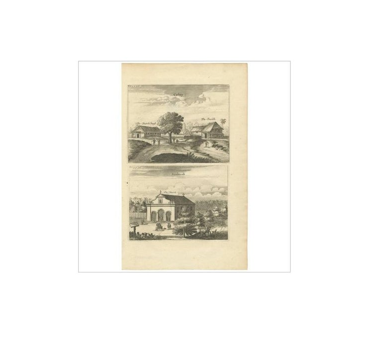 Antique Print of the Churches of Cathay and Sundecouli 'Ceylon, Sri Lanka' In Good Condition For Sale In Langweer, NL