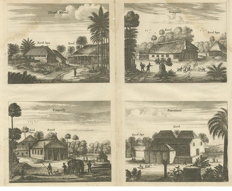 Antique print titled 'Illondi Matual, Ureputti, Catavelli, Paretiture'. Antique print with four views of the churches of Ilondi Matual, Ureputti, Catavelli and Paretiture (Ceylon/Sri Lanka). The plate originates from the work 'Naauwkeurige