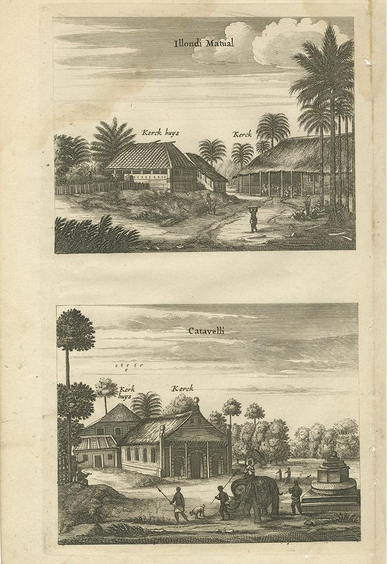 Dutch Antique Print of the Churches of Ilondi Matual, Ureputti, Catavelli and Paretitu For Sale