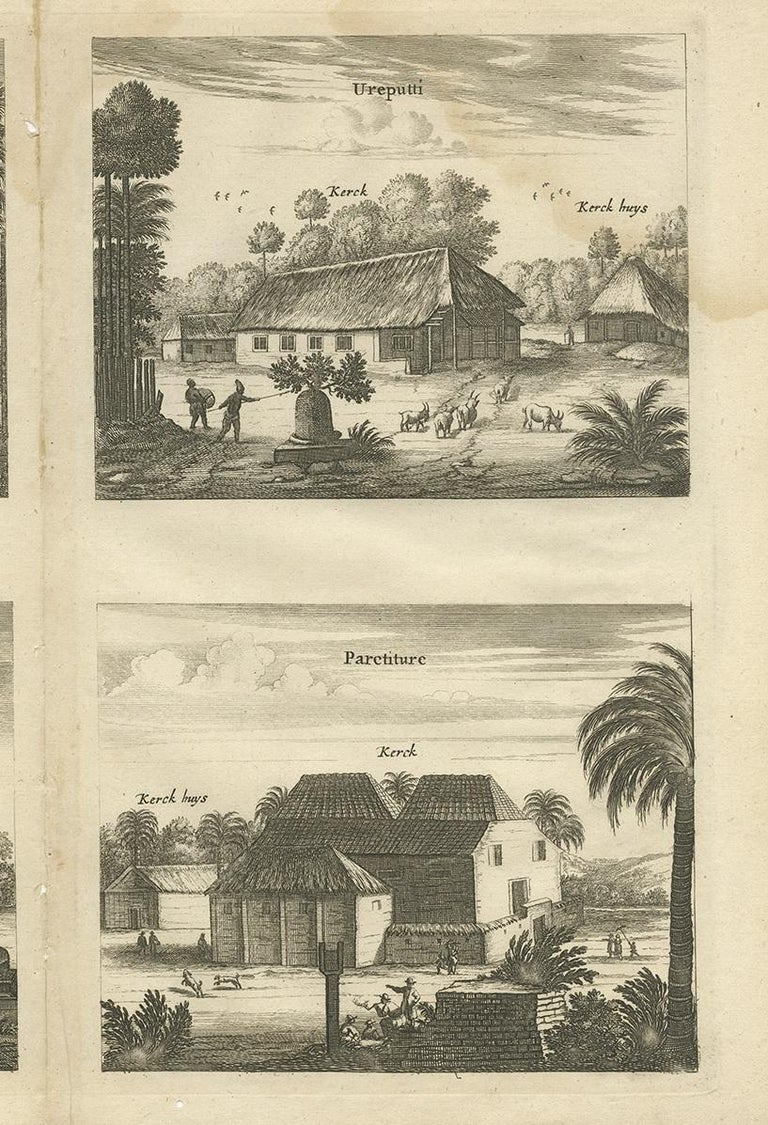 Antique Print of the Churches of Ilondi Matual, Ureputti, Catavelli and Paretitu In Fair Condition For Sale In Langweer, NL