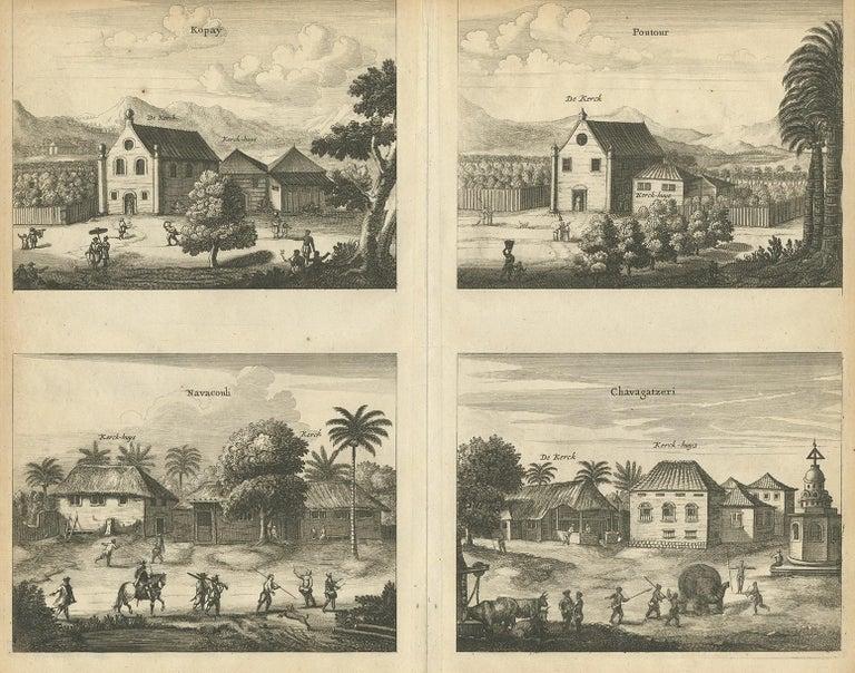 Antique print titled 'Kopay, Poutour, Navacouli, Chavagatzeri'. Antique print with four views of the churches of Kopay, Poutour, Navacouli and Chavagatzeri (Ceylon/Sri Lanka). The plate originates from the work 'Naauwkeurige beschryvinge van Malabar