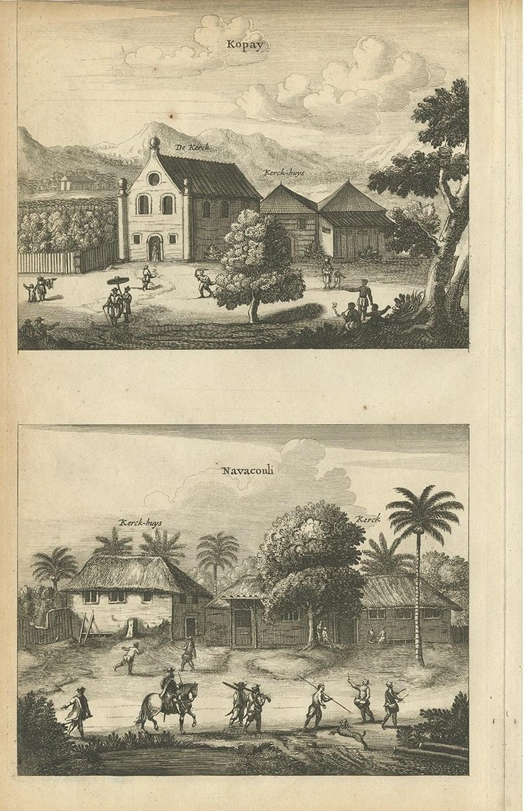 Dutch Antique Print of the Churches of Kopay, Poutour, Navacouli and Chavagatzeri For Sale