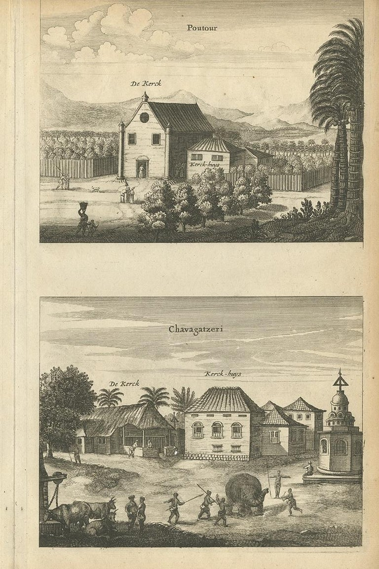 Antique Print of the Churches of Kopay, Poutour, Navacouli and Chavagatzeri In Good Condition For Sale In Langweer, NL