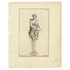 Antique Print of the Circe Statue of Versailles by Thomassin, circa 1695