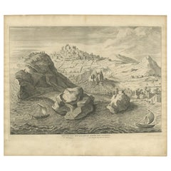 Antique Print of the City and Harbour of Pathmos 'Patmos/Patimio, Greece'