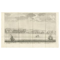 Antique Print of the City and Port of Valparaíso, Chile by Tirion '1767'