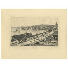 Antique Print of the City of Cannes by Fraipont, circa 1900