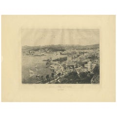 Antique Print of the City of Nice by Salmon, circa 1900