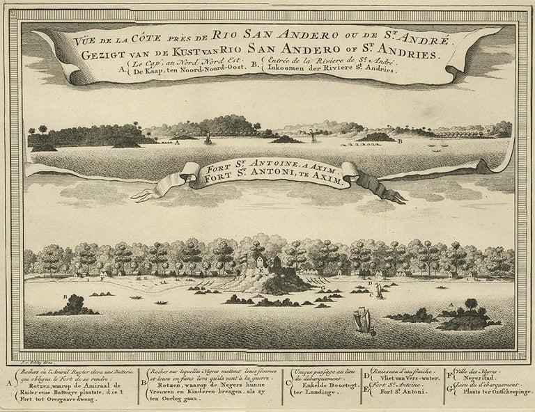 View of the coast near Rio San Andero and the fortress of St. Anthony at Axim. This print originates from the Dutch edition of Prévost's