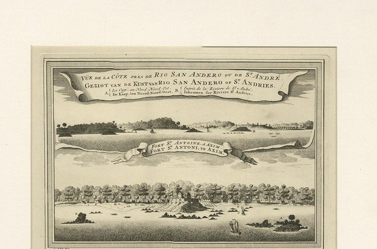 Antique Print of the Coast of Ghana 'Africa' by J. van Schley, 1750 In Good Condition For Sale In Langweer, NL