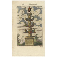 Antique Print of the Column of Dilius by Morisot, '1643'