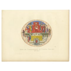 Antique Print of the Coronation of Gian Galeazzo Visconti by Bonnard, 1860