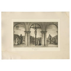 Antique Print of 'The Crucifixion' Made After Perugino 'C.1890'