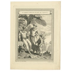 Antique Print of the Dalai Lama and the King of Tangut by Cochin '1749'