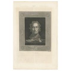Antique Print of the Death Mask of Napoléon Bonaparte by Sichling 'c.1850'