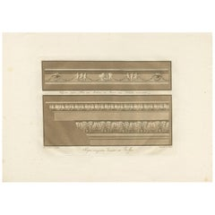 Antique Print of the Design of Cornices by Spiegl, circa 1730