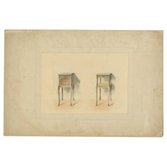 Antique Print of the Design of Two Sidetables/Furniture, circa 1900