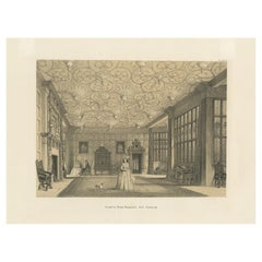 Antique Print of the Drawing Room of Bramhall Hall by Nash, circa 1870