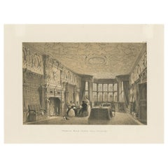 Antique Print of the Drawing Room of Crewe Hall by Nash, circa 1870