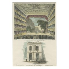 Antique Print of the English Opera House 'London' by Wilkinson, 1816
