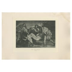 Antique Print of 'The Entombment' Made after Titian 'c.1890'